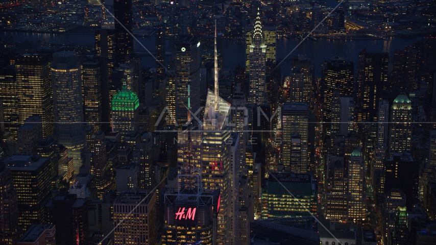 Top of Bank of America Tower in Midtown at night in New York City Aerial Stock Photos | AX121_132.0000030F