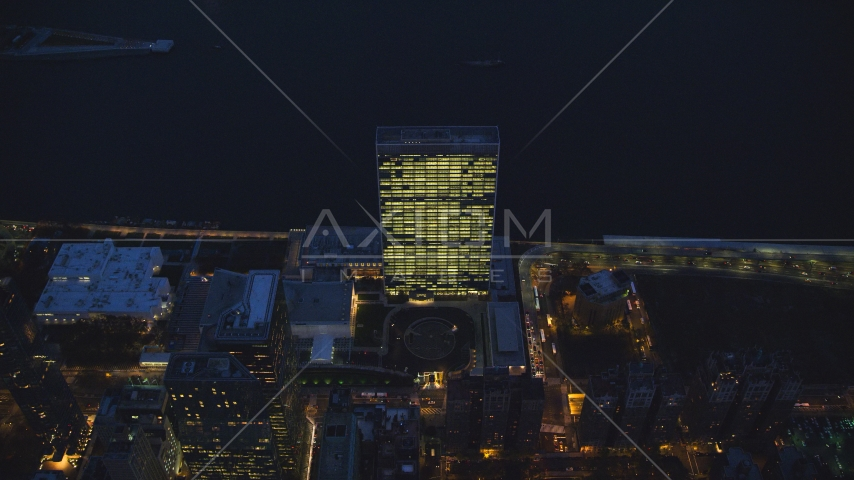 The United Nations at night in Midtown, New York City Aerial Stock Photos | AX121_139.0000135F