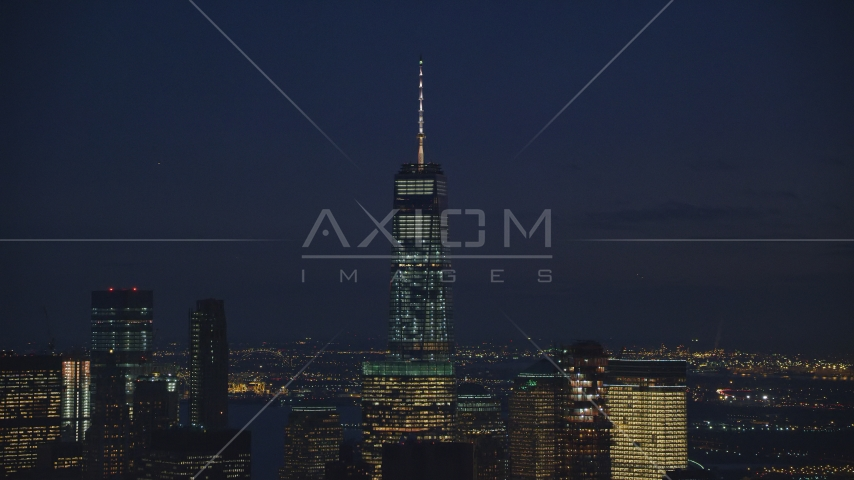 Top of Freedom Tower at night in Lower Manhattan, New York City Aerial Stock Photos | AX121_156.0000070F