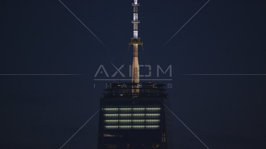 Base of the Freedom Tower spire at night in Lower Manhattan, New York City Aerial Stock Photos AX121_158.0000254F