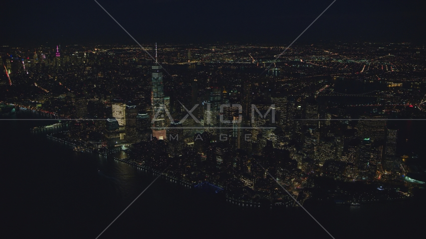 Freedom Tower and Lower Manhattan at night, New York City Aerial Stock Photos | AX121_173.0000009F