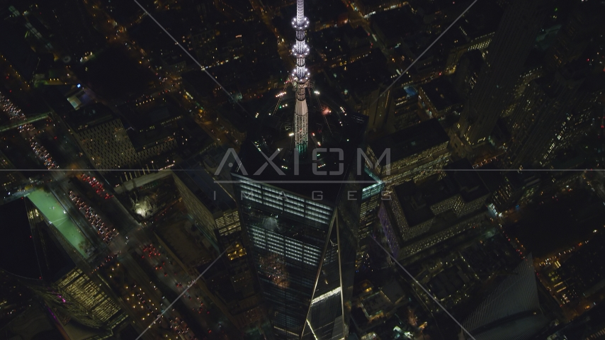 Spire of Freedom Tower at night, Lower Manhattan, New York City Aerial Stock Photo AX121_175.0000332F | Axiom Images