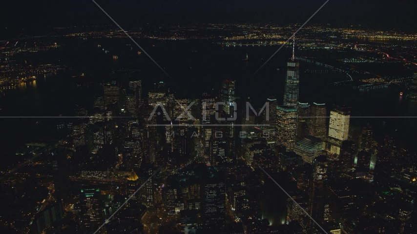 Skyscrapers of Lower Manhattan at night in New York City Aerial Stock Photos | AX121_177.0000118F