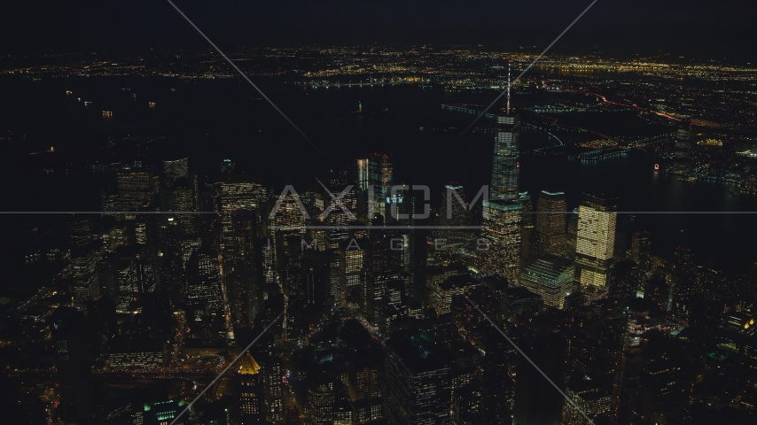 Skyscrapers in Lower Manhattan at nighttime in New York City Aerial Stock Photos | AX121_177.0000336F