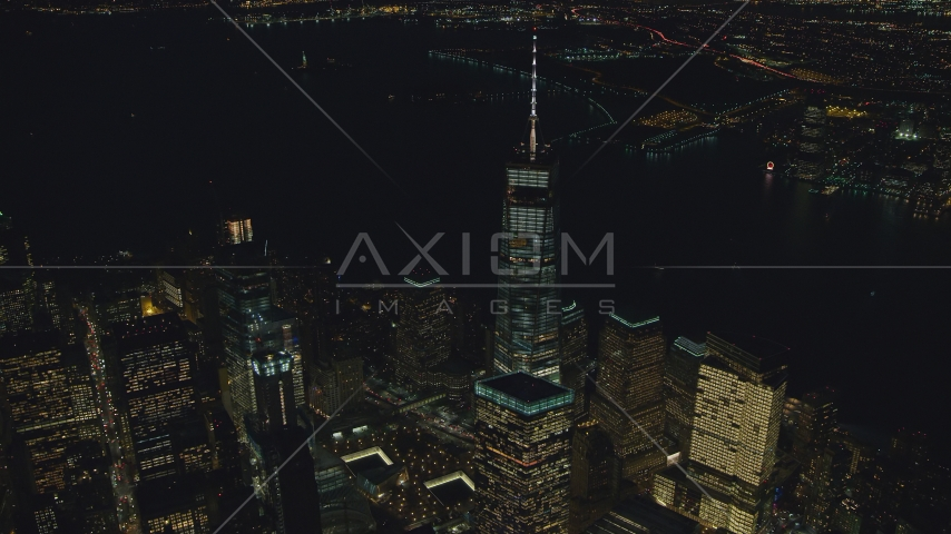 The World Trade Center Memorial and Freedom Tower at night in New York City Aerial Stock Photos | AX121_179.0000056F