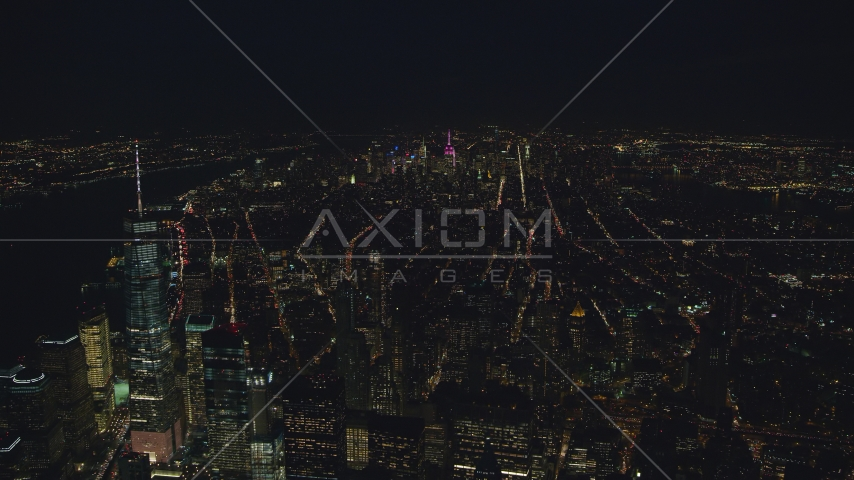 Midtown seen from near Freedom Tower at night in New York City Aerial Stock Photos | AX121_185.0000166F