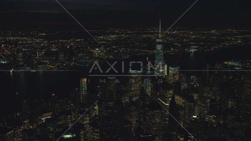 Freedom Tower and World Trade Center skyscrapers at night in New York City Aerial Stock Photos | AX121_189.0000150F