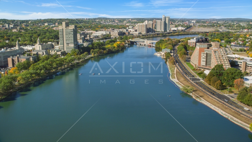 Charles River by office buildings, Boston, Massachusetts Aerial Stock Photos | AX142_057.0000212