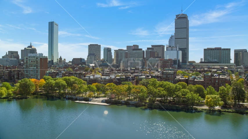 City buildings and waterfront parks in Back Bay, Downtown Boston, Massachusetts Aerial Stock Photo AX142_172.0000000 | Axiom Images