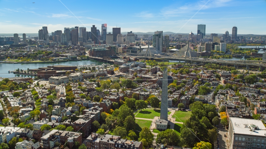 Bunker Hill Monument and the Downtown Boston skyline, Charlestown, Massachusetts Aerial Stock Photo AX142_195.0000181 | Axiom Images
