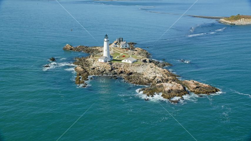 Boston Light and Little Brewster Island, Boston Harbor, Massachusetts Aerial Stock Photos | AX142_259.0000000