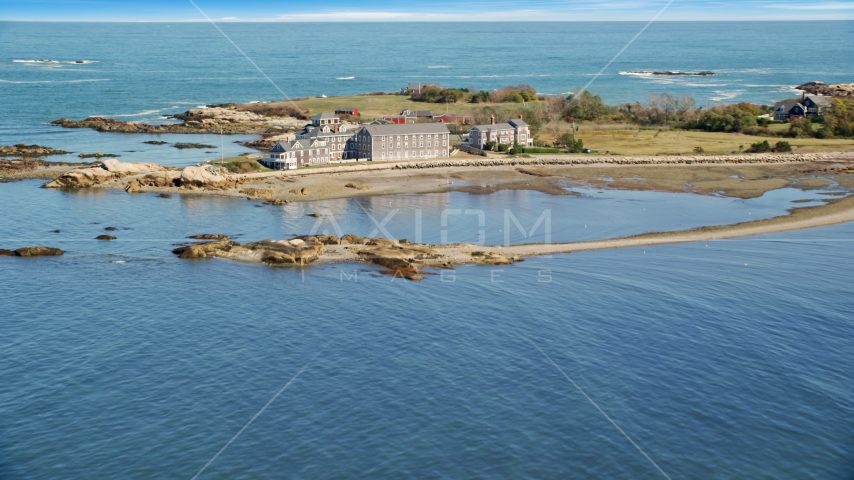 Isolated, upscale oceanfront home, Scituate, Massachusetts Aerial Stock Photos | AX143_030.0000000