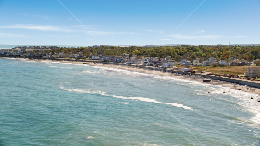 A beach and oceanfront homes, Scituate, Massachusetts Aerial Stock Photos | AX143_036.0000206