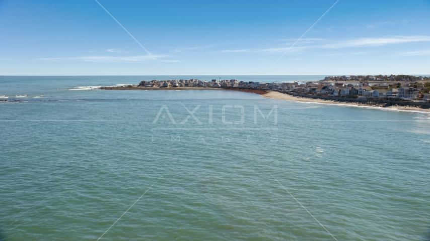 Beach homes overlooking the ocean in Scituate, Massachusetts Aerial Stock Photos | AX143_037.0000000