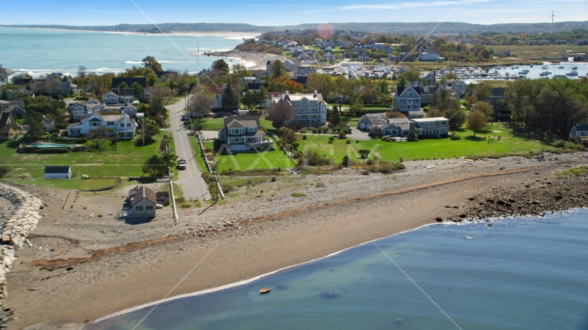 A rocky beach and oceanfront homes, Scituate, Massachusetts Aerial Stock Photos | AX143_042.0000000