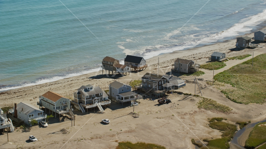 Elevated oceanfront homes, Scituate, Massachusetts Aerial Stock Photos | AX143_045.0000066
