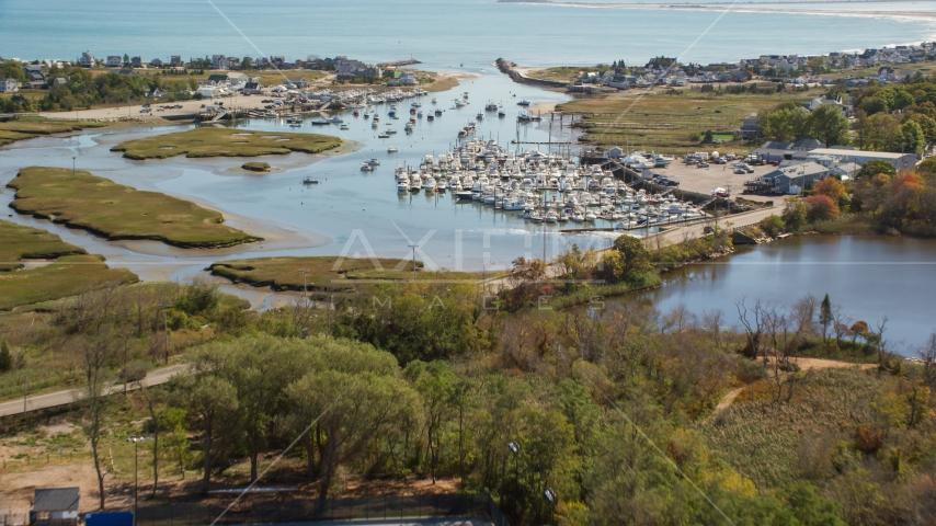 A small town marina in autumn, Marshfield, Massachusetts Aerial Stock Photos | AX143_060.0000359