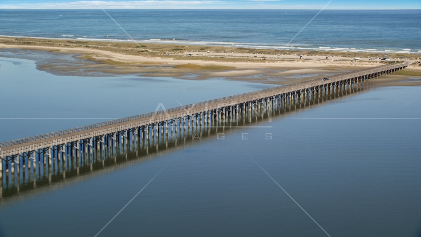 The Powder Point Bridge beside a beach, Duxbury, Massachusetts Aerial Stock Photos | AX143_079.0000000
