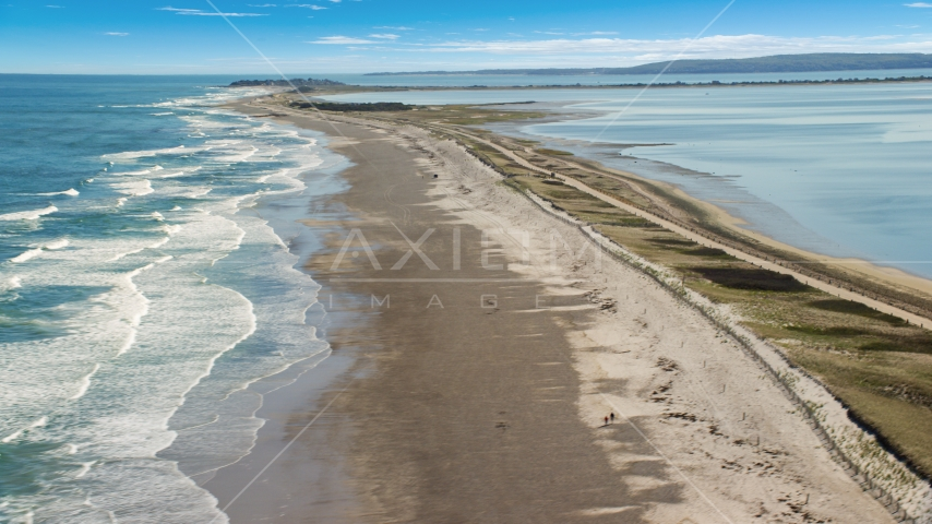 Waves rolling in on a beach, Duxbury, Massachusetts Aerial Stock Photo AX143_081.0000070 | Axiom Images