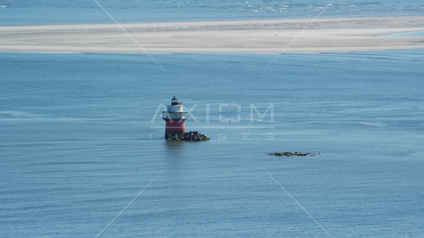 Plymouth Light in Plymouth Harbor, Plymouth, Massachusetts Aerial Stock Photo AX143_084.0000000 | Axiom Images