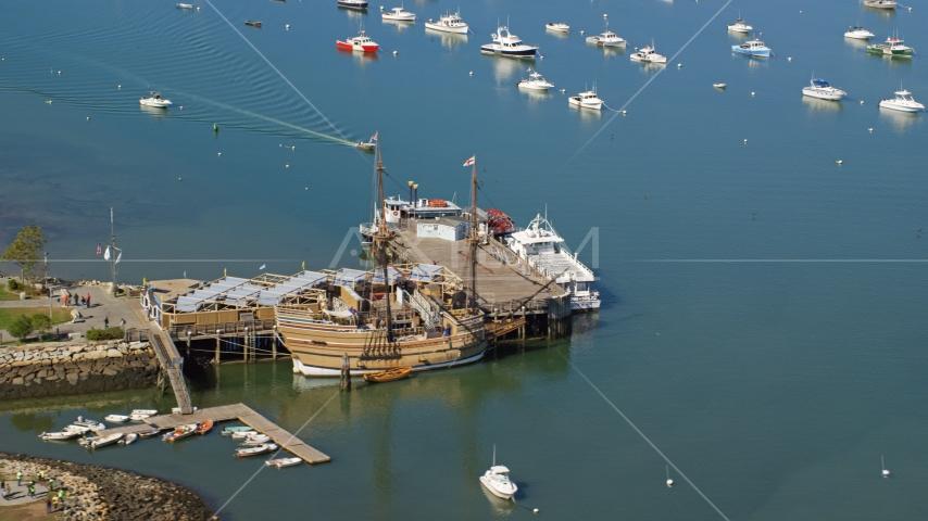 The Mayflower II and Mayflower II Museum, Plymouth, Massachusetts Aerial Stock Photos | AX143_089.0000203