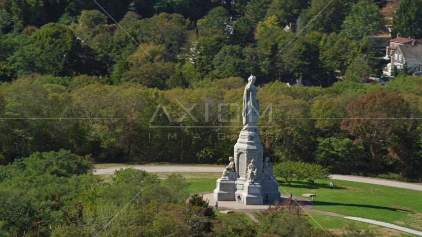 The National Monument to the Forefathers, Plymouth, Massachusetts Aerial Stock Photos | AX143_093.0000000