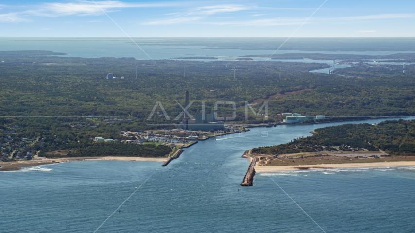A power plant beside Cape Cod Canal, Sandwich, Cape Cod, Massachusetts Aerial Stock Photo AX143_127.0000139 | Axiom Images