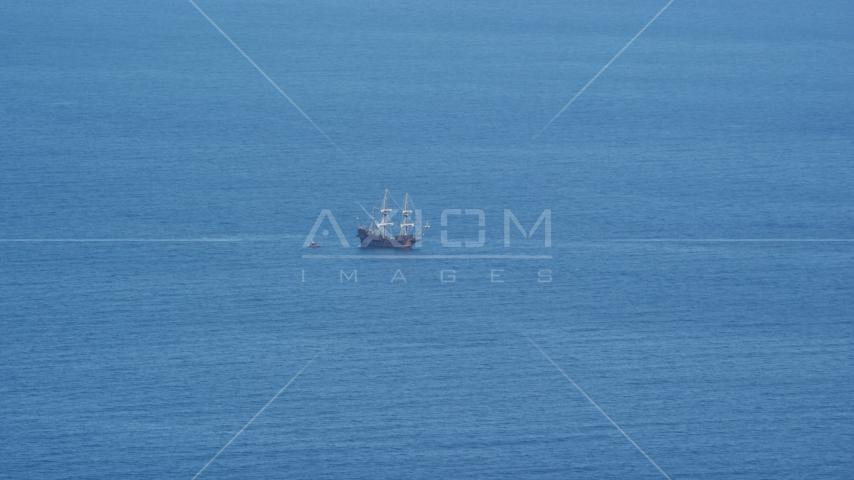 A historic sailing ship on Cape Cod Bay, Massachusetts Aerial Stock Photos | AX143_129.0000180