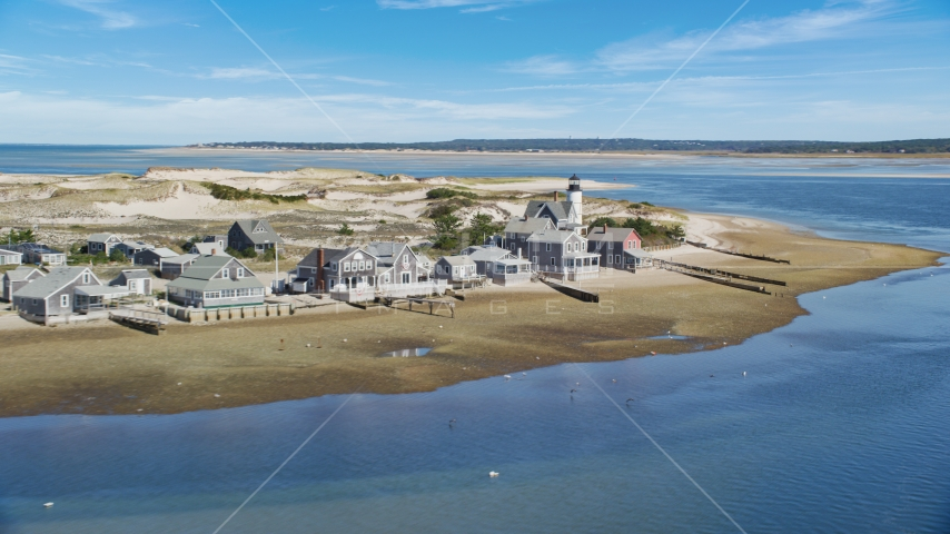 Small town of Sandy Neck Colony and Sandy Neck Light on Cape Cod, Barnstable, Massachusetts Aerial Stock Photo AX143_143.0000261 | Axiom Images