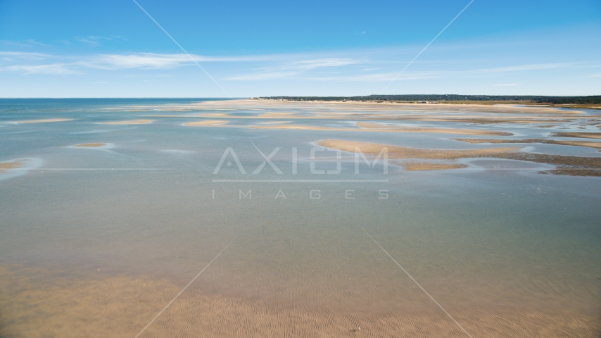 Sand bars at low tide on Cape Cod Bay, Massachusetts Aerial Stock Photo AX143_146.0000309 | Axiom Images