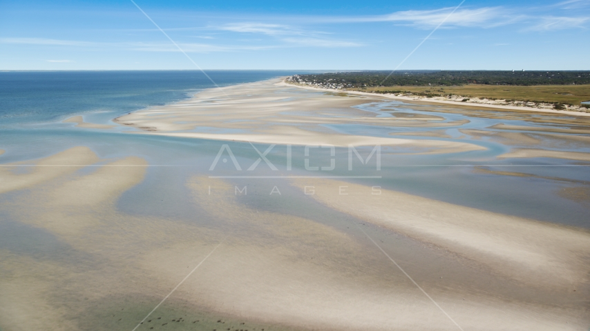 Sand bars by small coastal town, Cape Cod, Dennis, Massachusetts Aerial Stock Photo AX143_149.0000000 | Axiom Images