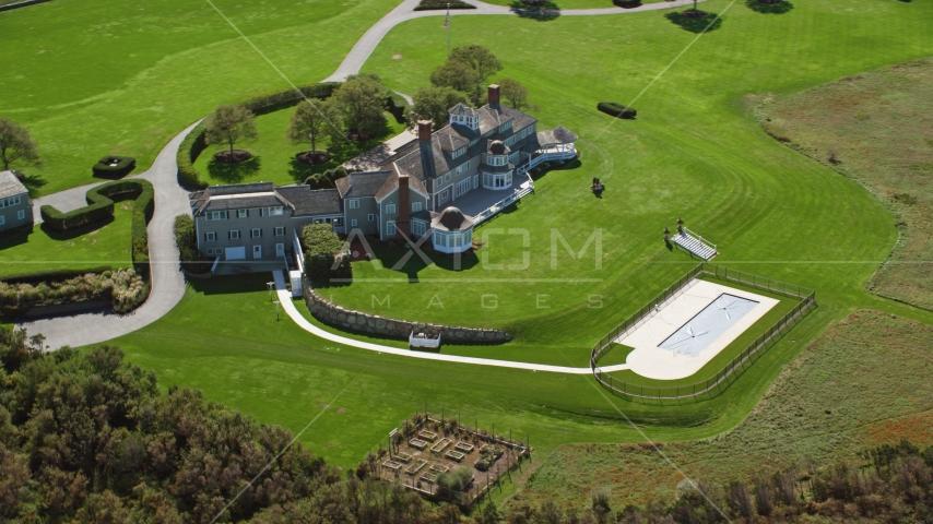 A mansion on Cape Cod, Dennis, Massachusetts Aerial Stock Photos | AX143_159.0000000