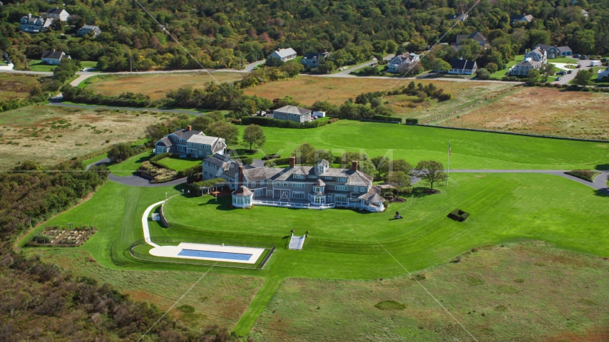 A beautiful mansion on Cape Cod, Dennis, Massachusetts Aerial Stock Photos | AX143_159.0000272