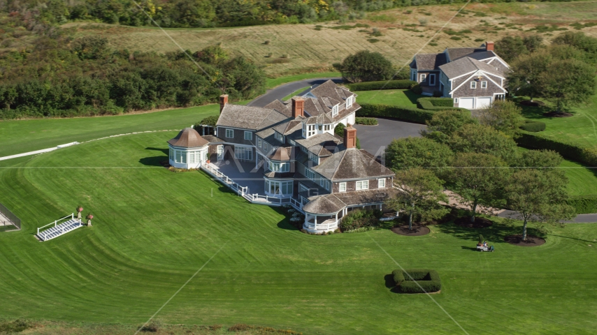 A large mansion on Cape Cod, Dennis, Massachusetts Aerial Stock Photos | AX143_160.0000204