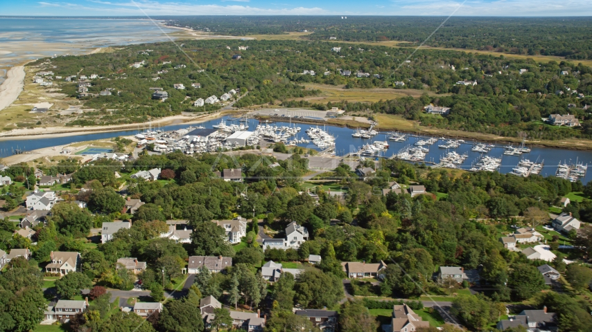 Sesuit Harbor and marina on Cape Cod, Dennis, Massachusetts Aerial Stock Photos | AX143_163.0000000