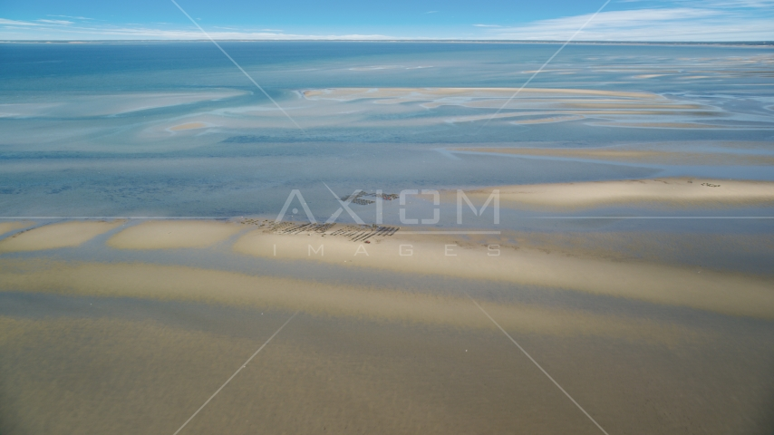 Oyster farming on sand bars at low tide, Cape Cod, Dennis, Massachusetts Aerial Stock Photos | AX143_171.0000000