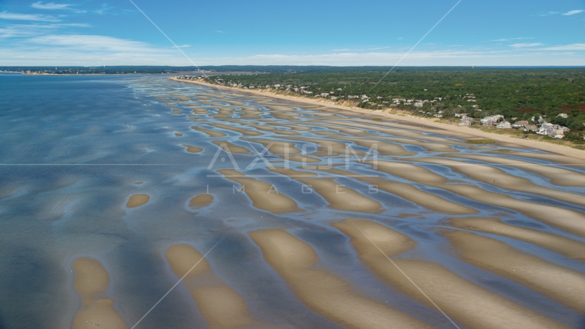 Sand bars by a small coastal town, Eastham, Massachusetts Aerial Stock Photo AX143_182.0000000 | Axiom Images