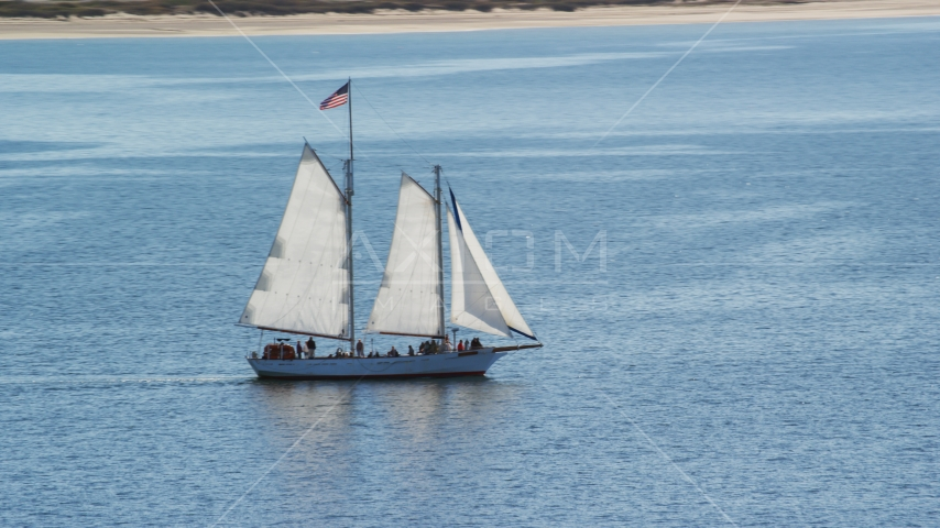 A sailing boat on Cape Cod Bay, Massachusetts Aerial Stock Photos | AX143_243.0000000