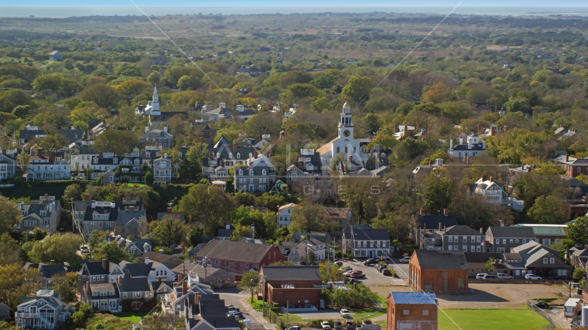 Unitarian Universalist Church in the coastal community of Nantucket, Massachusetts Aerial Stock Photos | AX144_077.0000108