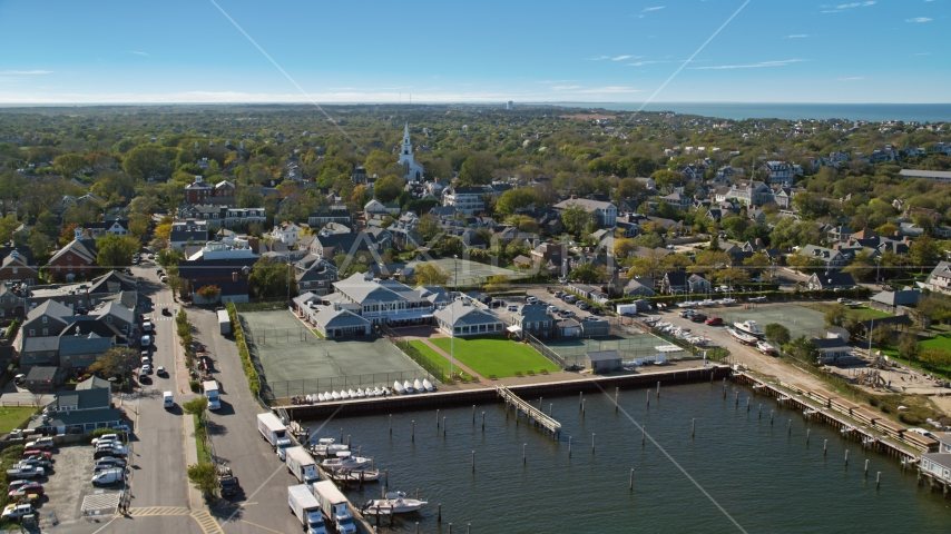 A small coastal town and church, Nantucket, Massachusetts Aerial Stock Photos | AX144_083.0000000