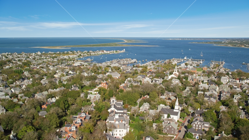 A small coastal community by Nantucket Harbor, Nantucket, Massachusetts Aerial Stock Photos | AX144_096.0000000
