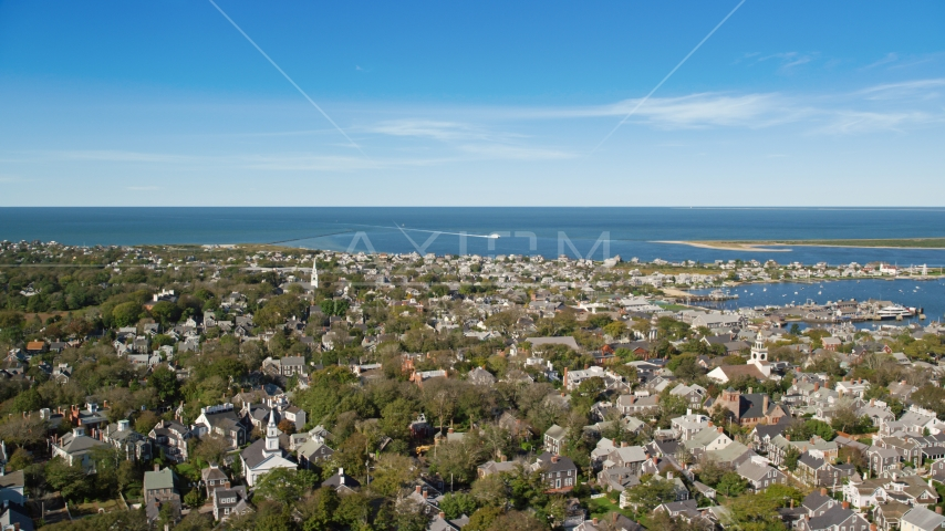 A small coastal community with a view of Nantucket Harbor, Nantucket, Massachusetts Aerial Stock Photos | AX144_097.0000000