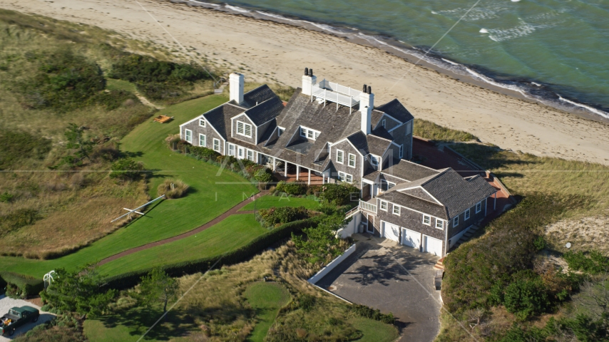 An upscale beachfront home in Nantucket, Massachusetts Aerial Stock Photos | AX144_107.0000277