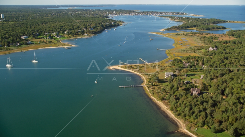 A view of Katama Bay by Edgartown, Martha's Vineyard, Massachusetts Aerial Stock Photo AX144_130.0000000 | Axiom Images