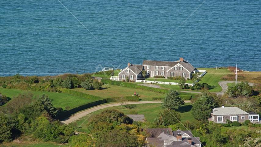 An oceanfront home in Edgartown, Martha's Vineyard, Massachusetts Aerial Stock Photos | AX144_145.0000000