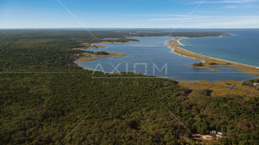 Forest and Sengekontacket Pond, Edgartown, Martha's Vineyard, Massachusetts Aerial Stock Photo AX144_146.0000000 | Axiom Images