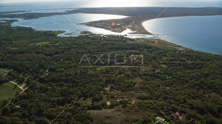 Menemsha Pond by the small community of Chilmark, Martha's Vineyard, Massachusetts Aerial Stock Photo AX144_159.0000000 | Axiom Images