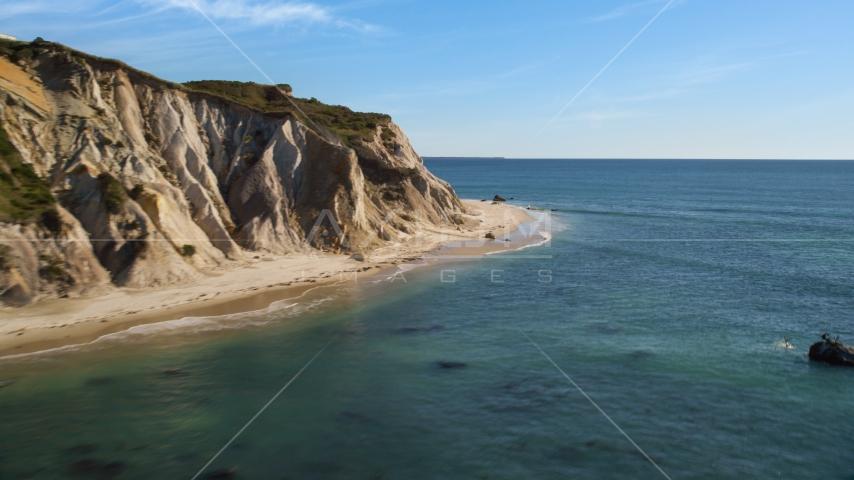 Coastal cliffs with a view of the ocean, Aquinnah, Martha's Vineyard, Massachusetts Aerial Stock Photo AX144_164.0000000 | Axiom Images