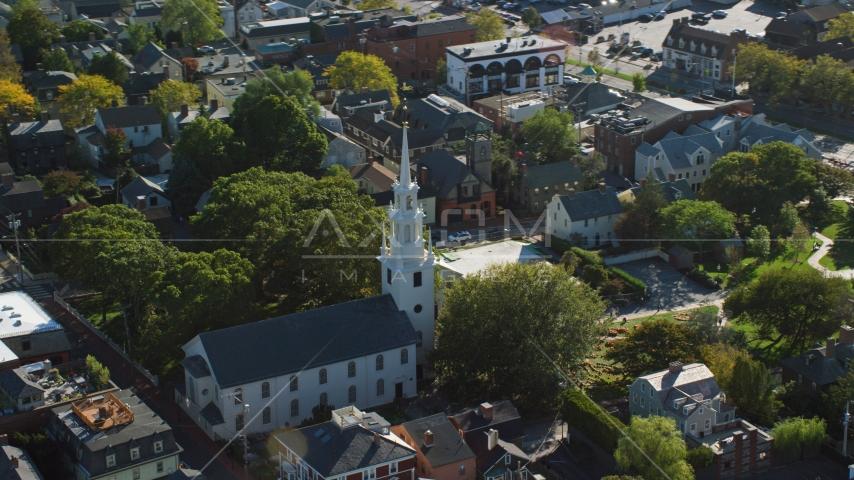 A view of Trinity Church in a quiet neighborhood, Newport, Rhode Island Aerial Stock Photos | AX144_237.0000154
