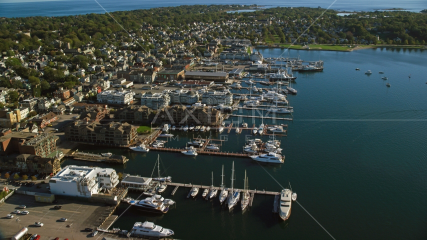 Waterfront hotels and a marina in the coastal community of Newport, Rhode Island Aerial Stock Photo AX144_239.0000000 | Axiom Images